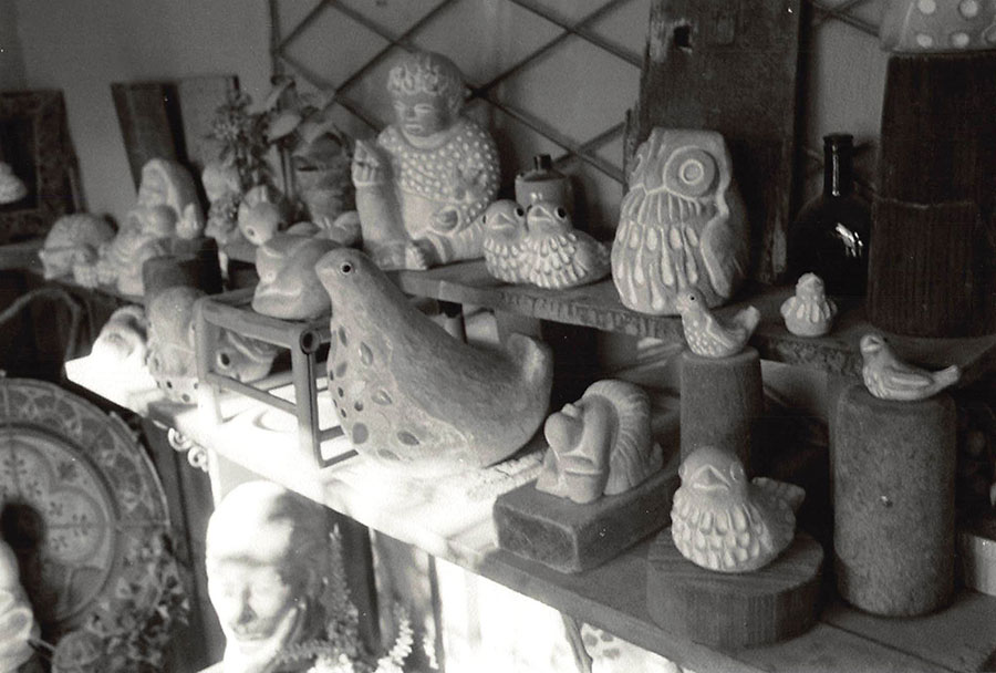 Group shot of many of Isabel Bloom's sculptures in a range of sizes from small to large.