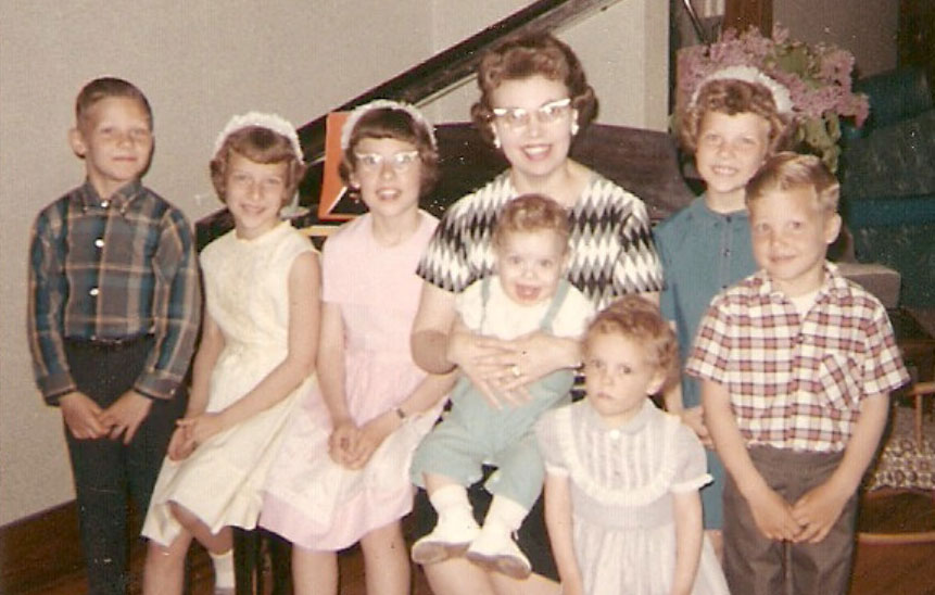 Donna with her mother and siblings.
