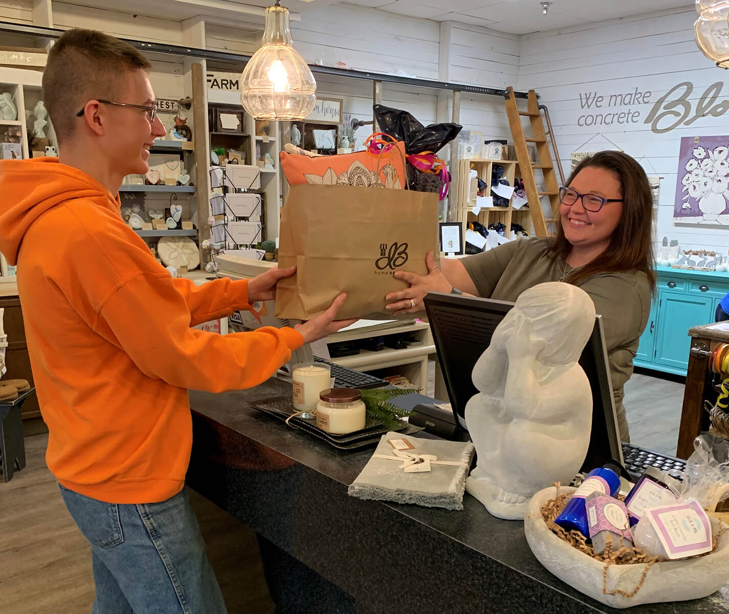Person buying Mom a gift for Mother's Day at Isabel Bloom's Showroom