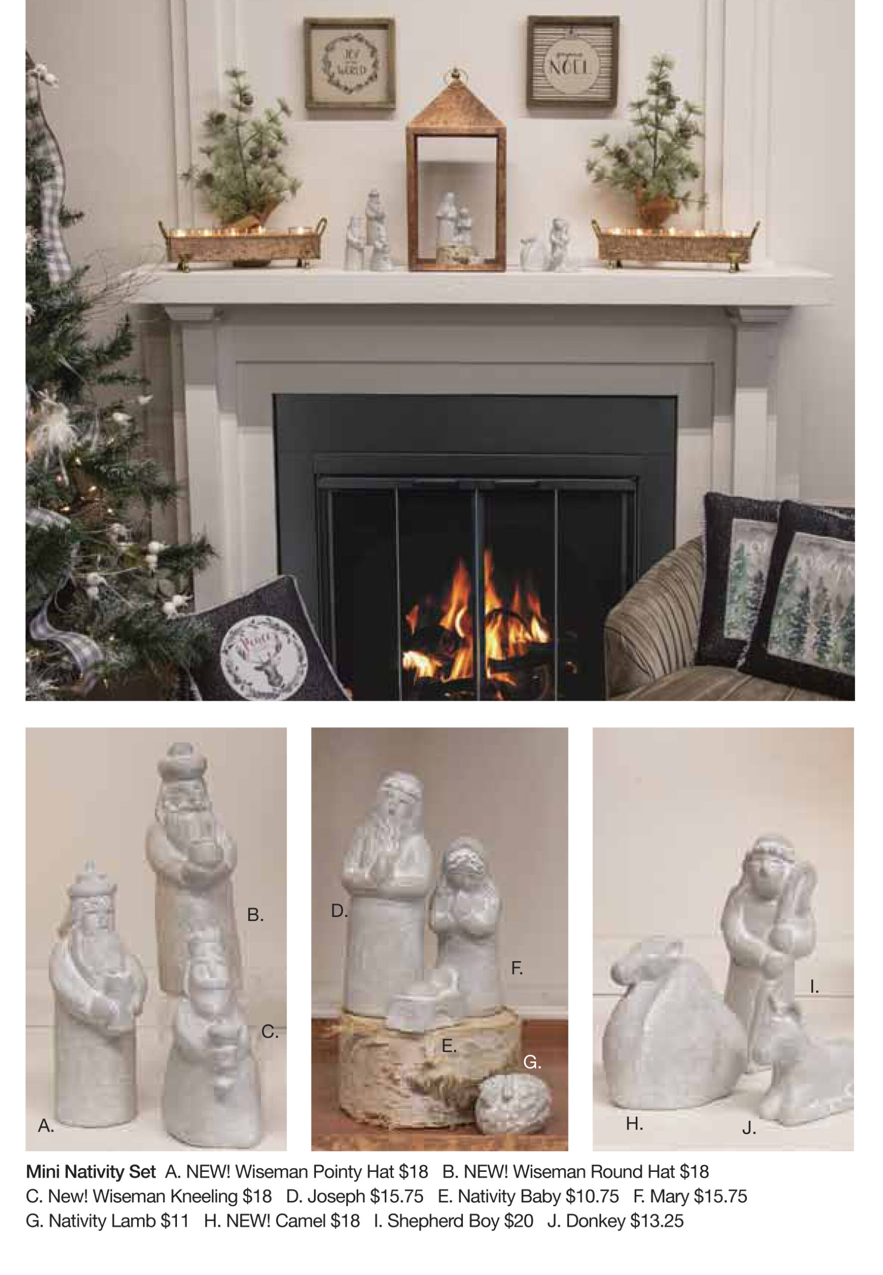 Adorn your mantle with our mini Nativity and some votives